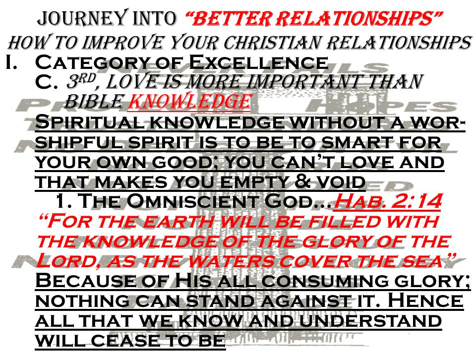 Journey into Better Relationships how To improve Your Christian Relationships I.Category of Excellence B.