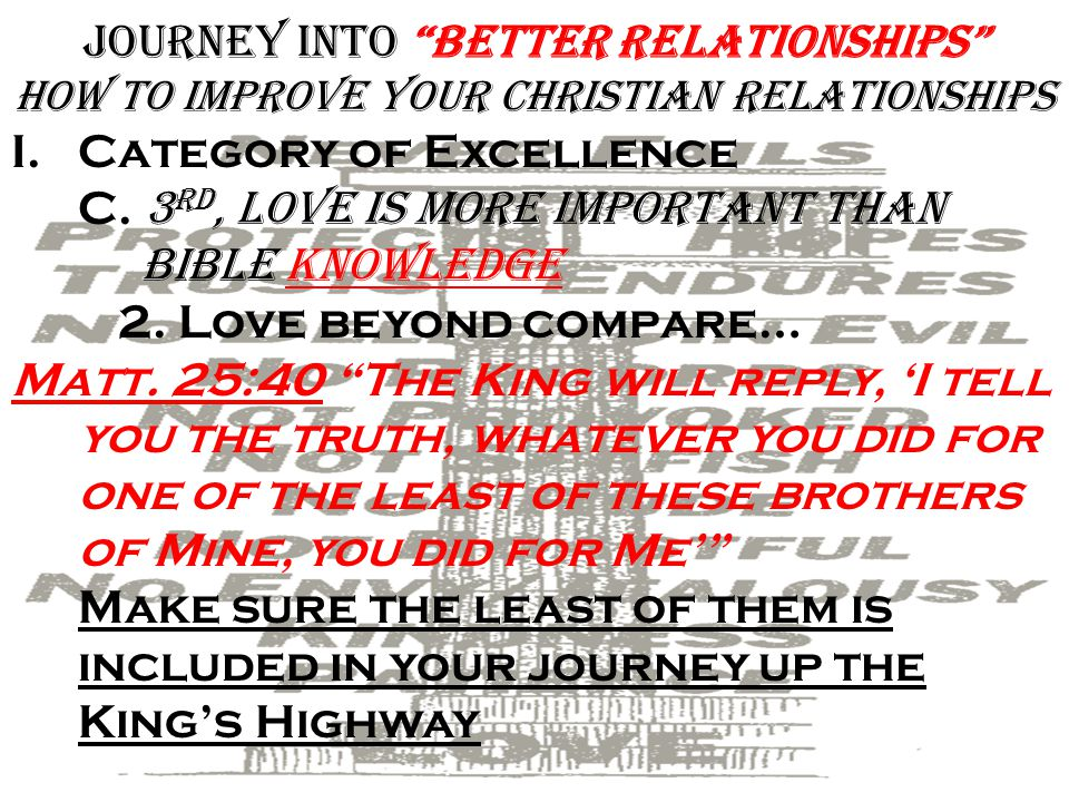 Journey into Better Relationships how To improve Your Christian Relationships I.Category of Excellence C.
