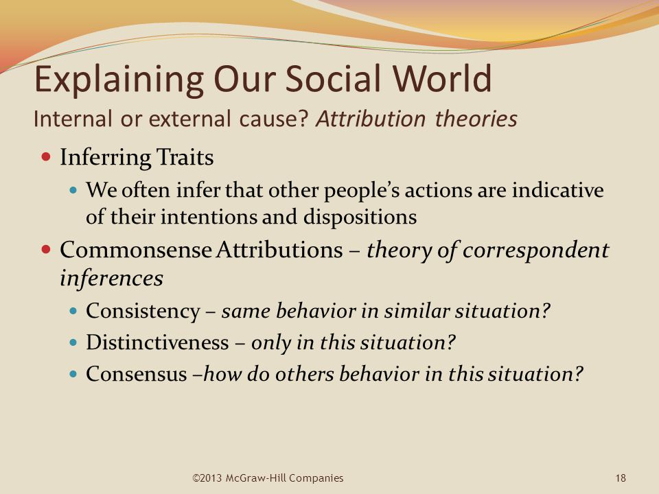 Explaining Our Social World Internal or external cause? Attribution theories Inferring Traits We often infer that other people's actions are indicativ