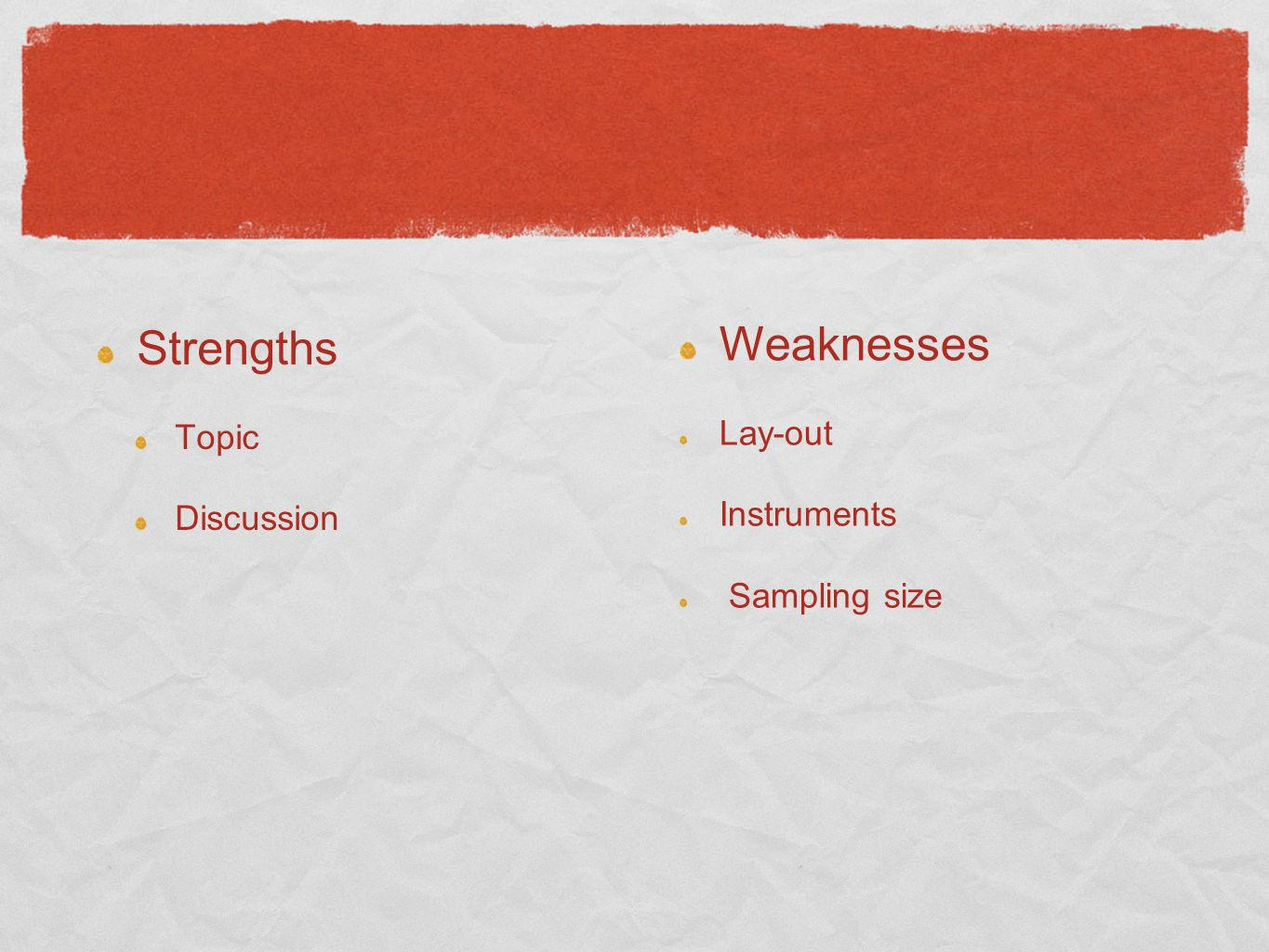 Strengths Topic Discussion Weaknesses Lay-out Instruments Sampling size