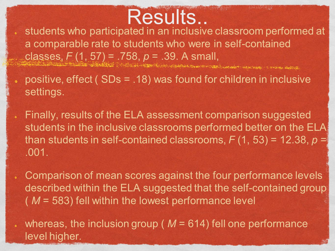 Results.. students who participated in an inclusive classroom performed at a comparable rate to students who were in self-contained classes, F (1, 57)