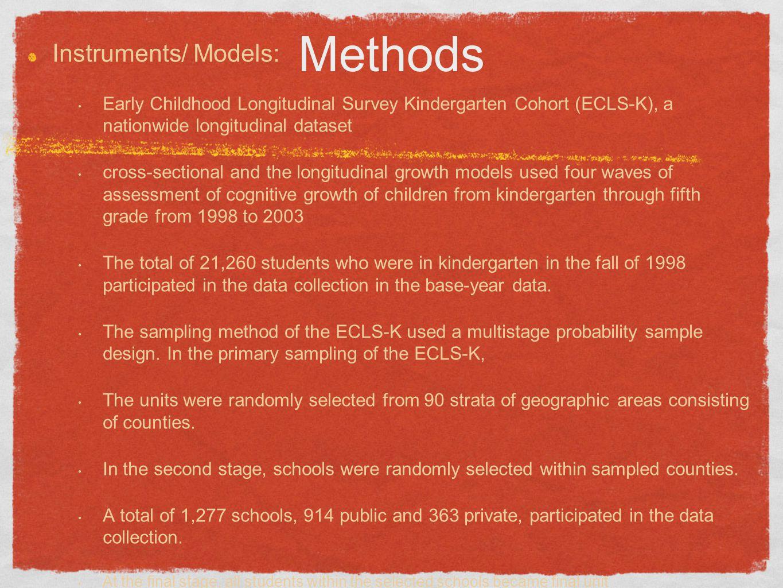Methods Instruments/ Models: Early Childhood Longitudinal Survey Kindergarten Cohort (ECLS-K), a nationwide longitudinal dataset cross-sectional and t