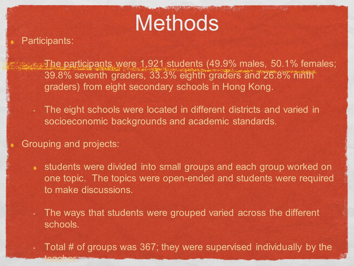 Methods Participants: The participants were 1,921 students (49.9% males, 50.1% females; 39.8% seventh graders, 33.3% eighth graders and 26.8% ninth gr