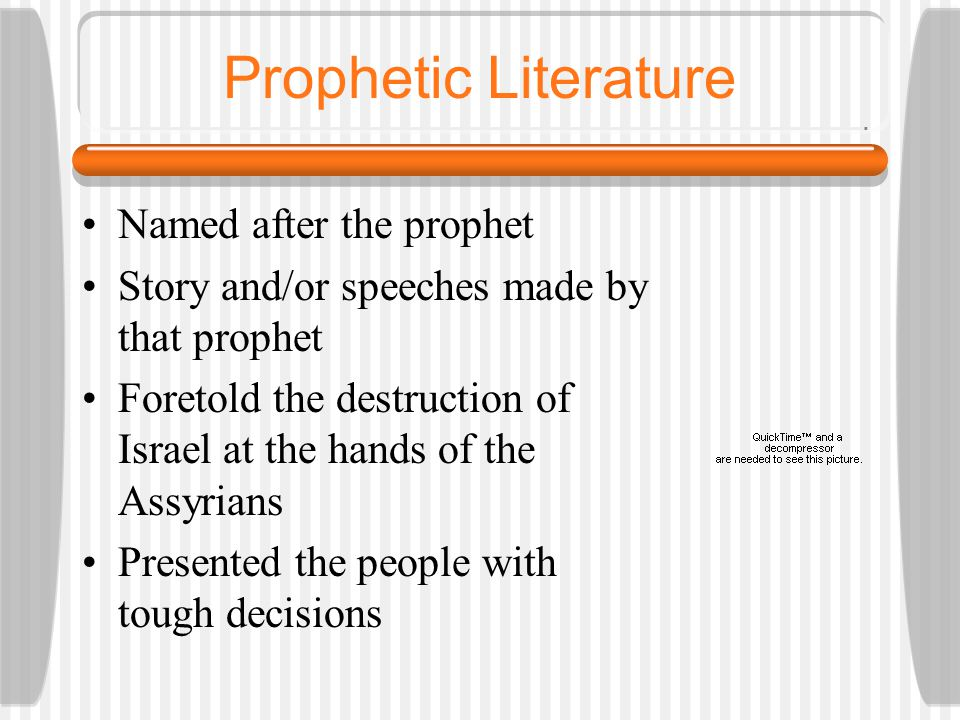 Prophets Spoke the message of God to the people Reminded the people of their past Warned them of the dangers of sin Encouraged the people to have strong faith