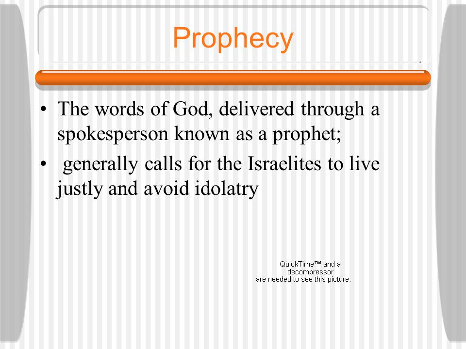 Prophetic Literature Named after the prophet Story and/or speeches made by that prophet Foretold the destruction of Israel at the hands of the Assyria