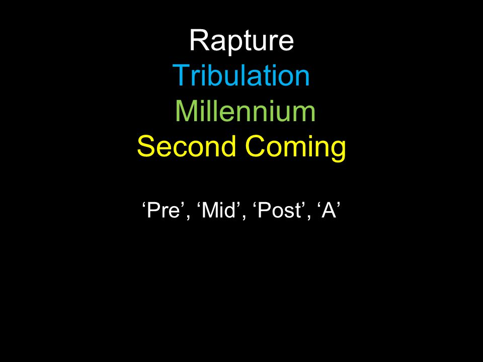 Rapture Tribulation Millennium Second Coming 'Pre', 'Mid', 'Post', 'A'