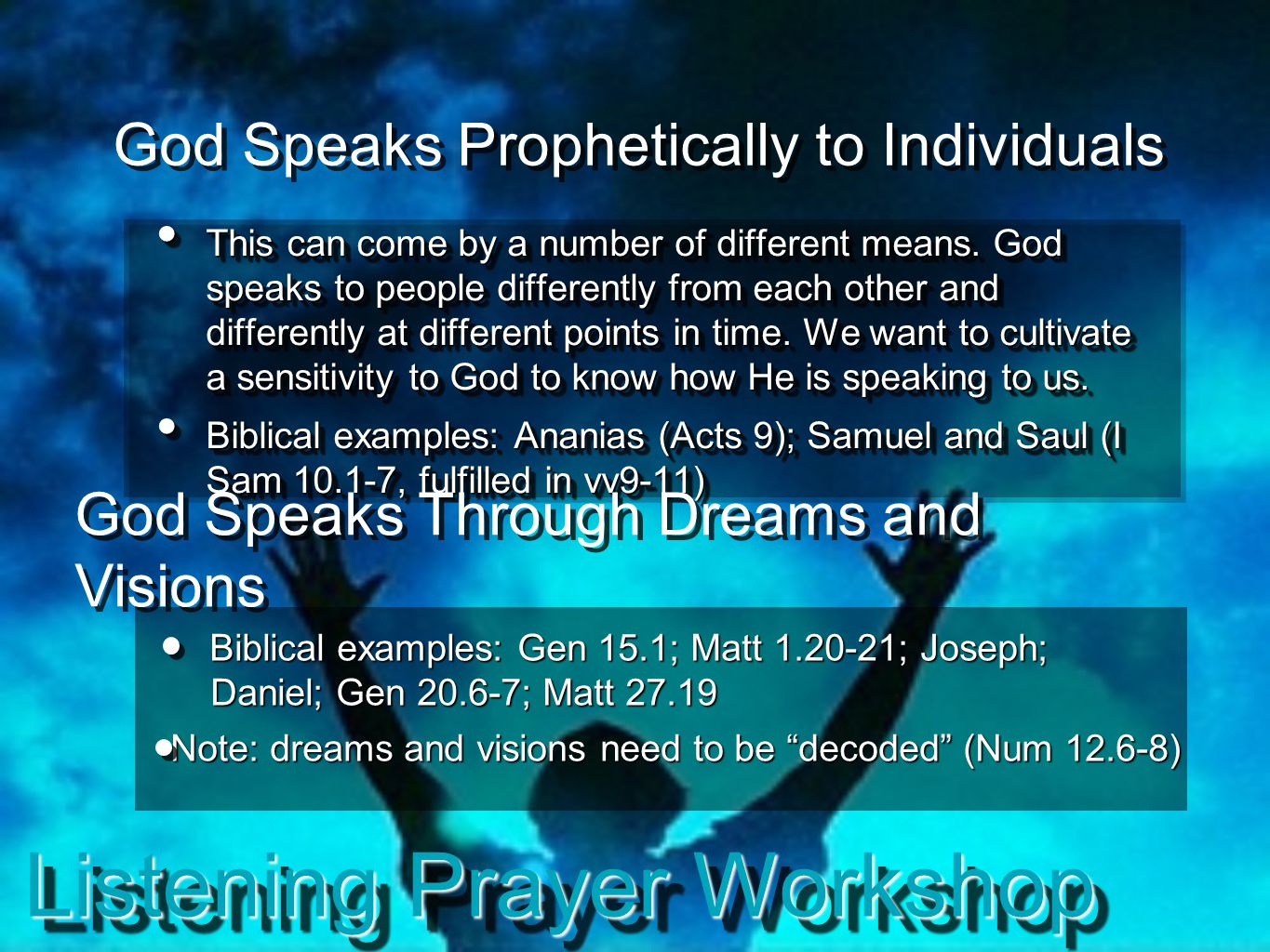Listening Prayer Workshop God Speaks Prophetically to Individuals This can come by a number of different means. God speaks to people differently from