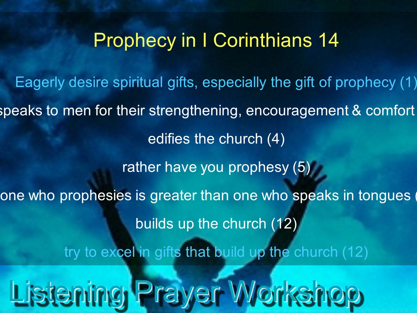 Listening Prayer Workshop God Speaks Prophetically to Individuals This can come by a number of different means.