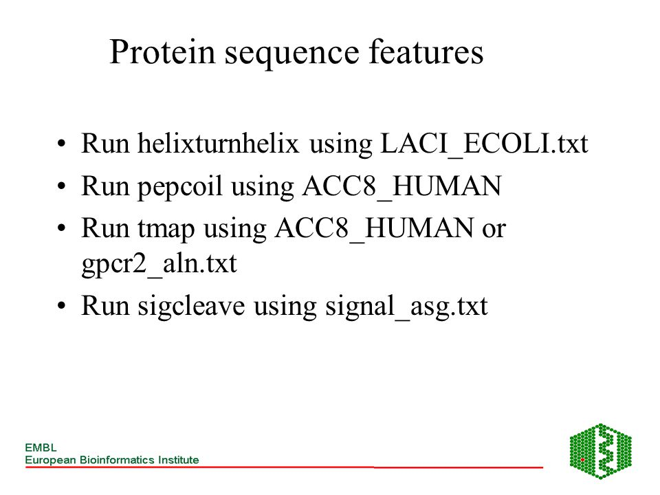 Protein sequence features Run helixturnhelix using LACI_ECOLI.txt Run pepcoil using ACC8_HUMAN Run tmap using ACC8_HUMAN or gpcr2_aln.txt Run sigcleav