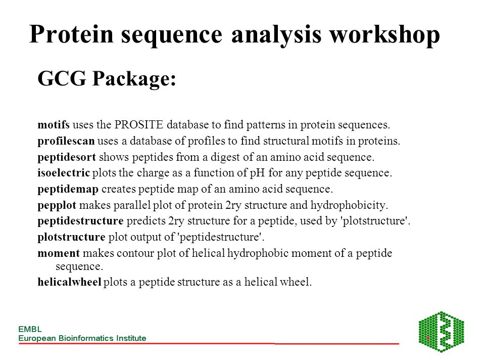 GCG Package: motifs uses the PROSITE database to find patterns in protein sequences. profilescan uses a database of profiles to find structural motifs