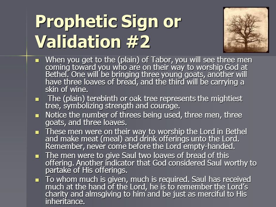 Prophetic Sign or Validation #2 When you get to the (plain) of Tabor, you will see three men coming toward you who are on their way to worship God at
