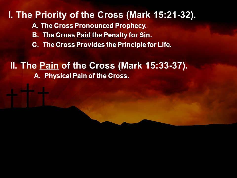 I. The Priority of the Cross (Mark 15:21-32). A.
