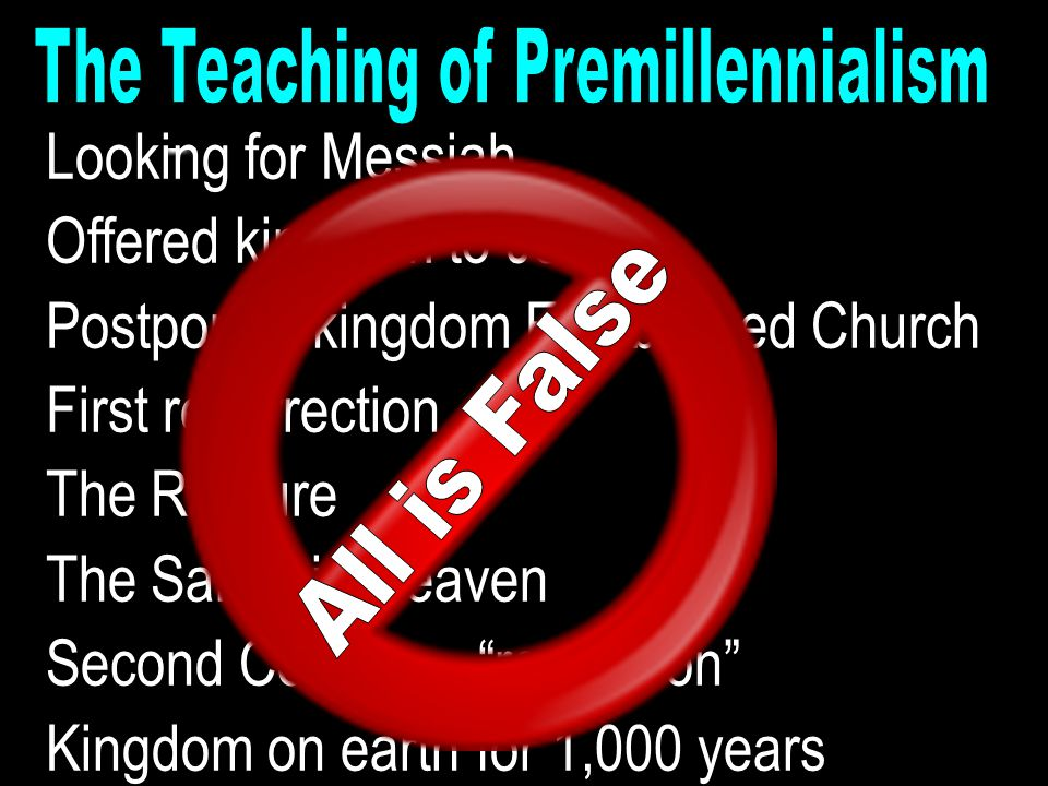 Looking for Messiah Offered kingdom to Jews Postponed kingdom Established Church First resurrection The Rapture The Saints in Heaven Second Coming – ""
