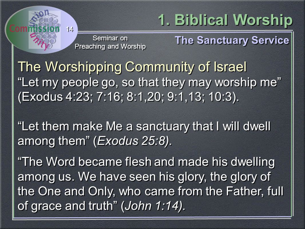 """1. Biblical Worship Seminar on Preaching and Worship Seminar on Preaching and Worship 14 The Sanctuary Service The Worshipping Community of Israel """"Le"""