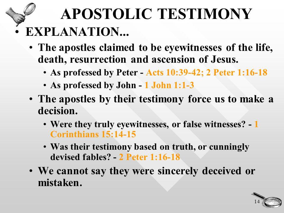 14 APOSTOLIC TESTIMONY EXPLANATION...