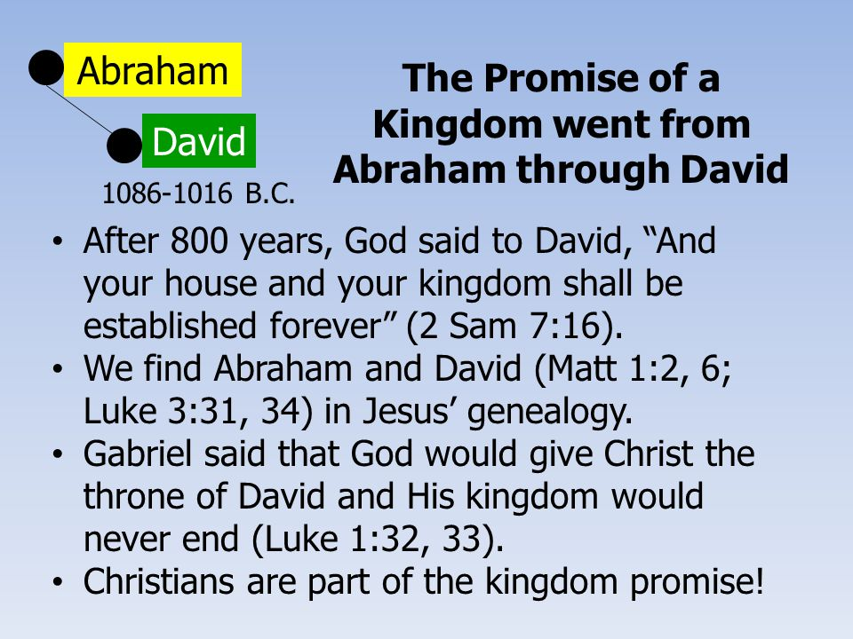 "Abraham David The Promise of a Kingdom went from Abraham through David After 800 years, God said to David, ""And your house and your kingdom shall be e"