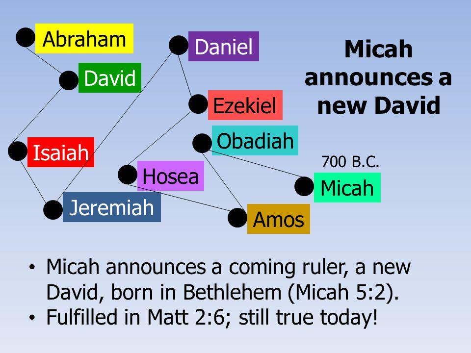 Abraham David Isaiah Jeremiah Ezekiel Daniel Hosea Amos Obadiah Micah Micah announces a coming ruler, a new David, born in Bethlehem (Micah 5:2).