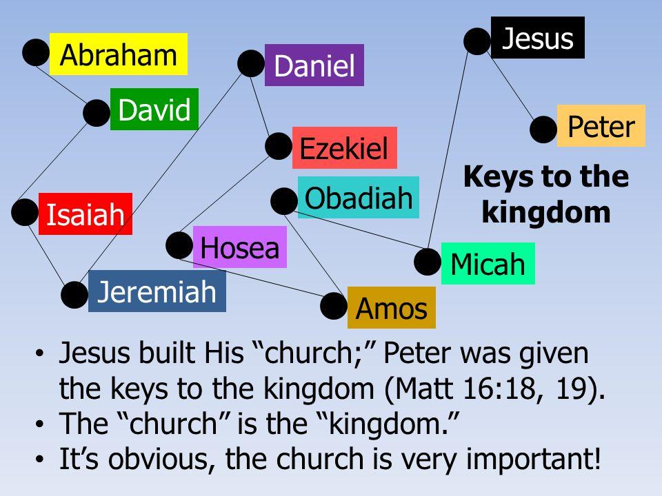 Abraham David Isaiah Jeremiah Ezekiel Daniel Hosea Amos Obadiah Micah Jesus Peter Jesus built His church; Peter was given the keys to the kingdom (Matt 16:18, 19).