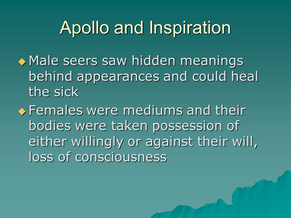 Apollo  embodied order against barbarism and reason against irrational  connected to shamans or medicine men because he is a healer and prophet