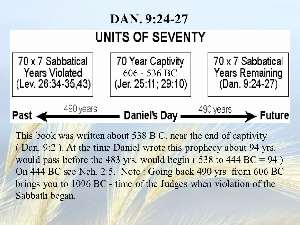 DAN. 9:24-27 This book was written about 538 B.C. near the end of captivity ( Dan. 9:2 ). At the time Daniel wrote this prophecy about 94 yrs. would p