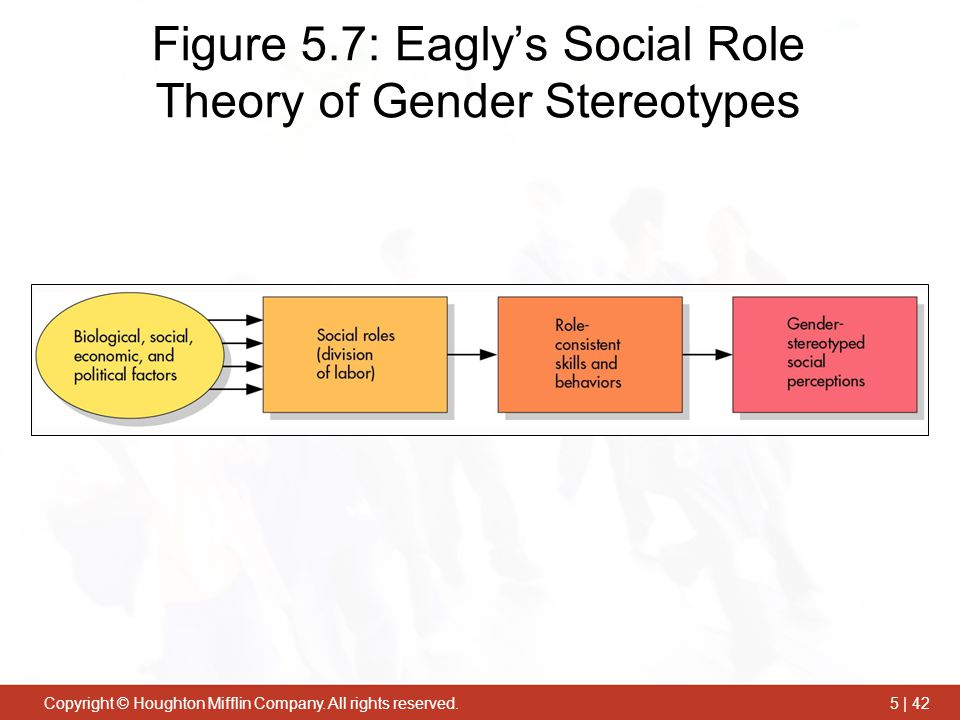 Copyright © Houghton Mifflin Company. All rights reserved.5 | 42 Figure 5.7: Eagly's Social Role Theory of Gender Stereotypes