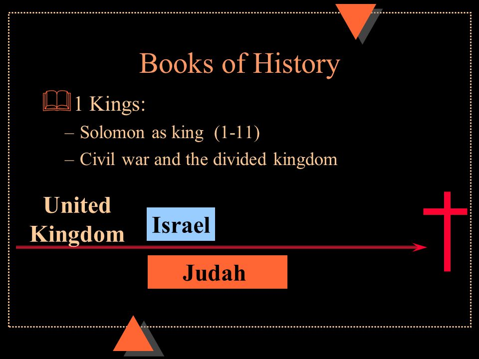Books of History  1 Samuel: Saul to David  2 Samuel: David as king The Lord said to David … When your days are over and you rest with your fathers, I will raise up your offspring to succeed you, who will come from your own body, and I will establish his kingdom. (2 Sam 7:12)