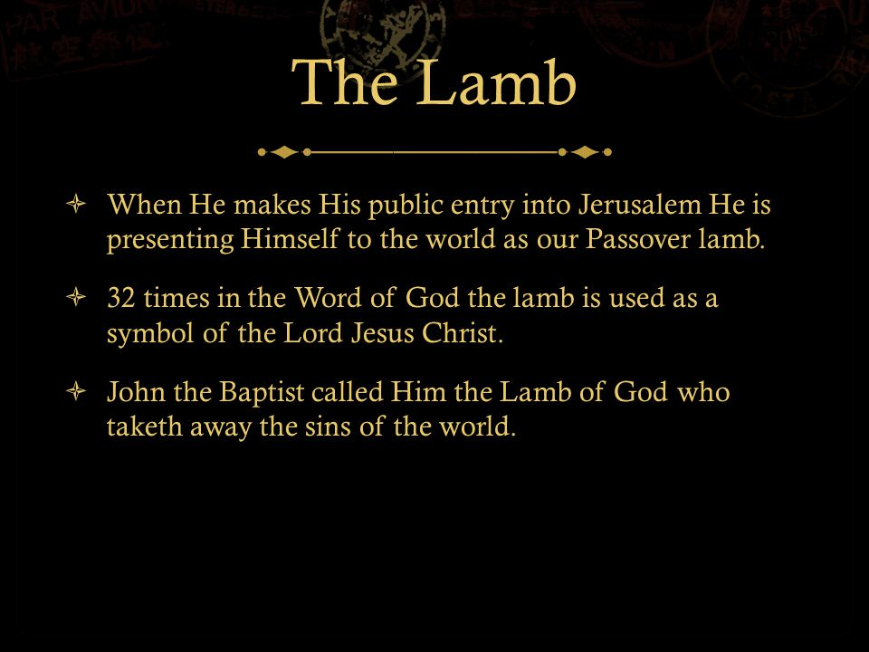 The Lamb  When He makes His public entry into Jerusalem He is presenting Himself to the world as our Passover lamb.