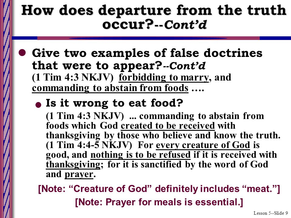Lesson 5--Slide 9 Give two examples of false doctrines that were to appear.