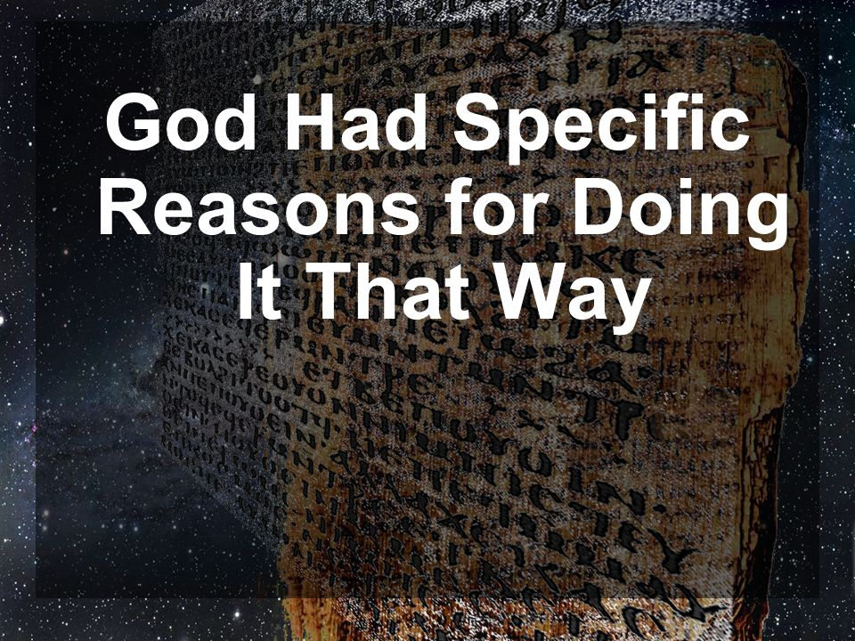 God Had Specific Reasons for Doing It That Way