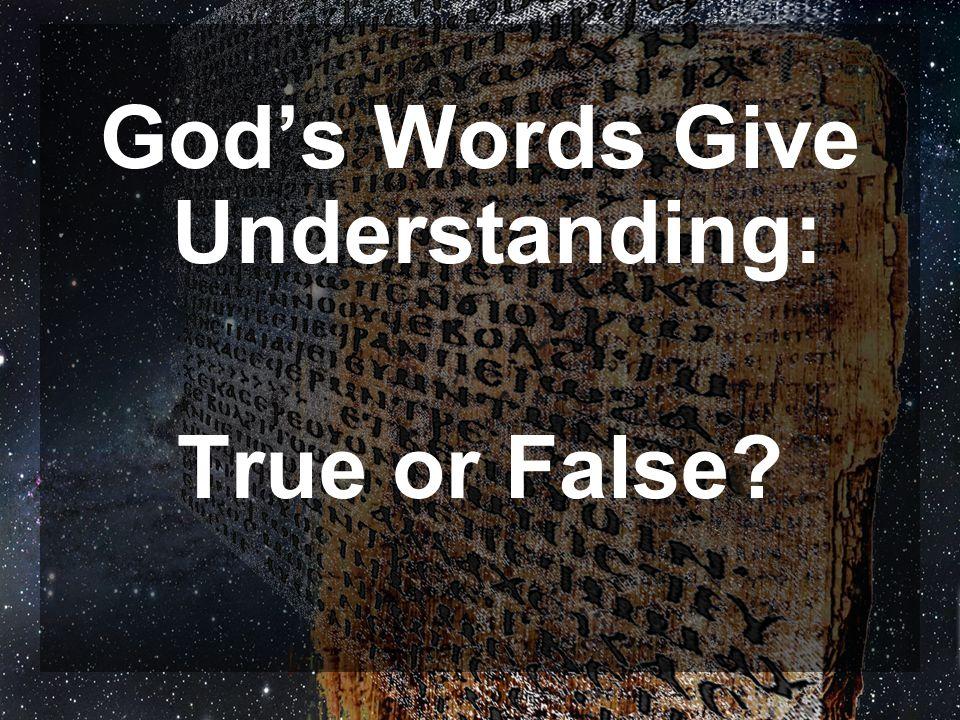 God's Words Give Understanding: True or False?