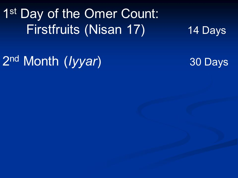 1 st Day of the Omer Count: Firstfruits (Nisan 17) 14 Days 2 nd Month (Iyyar) 30 Days
