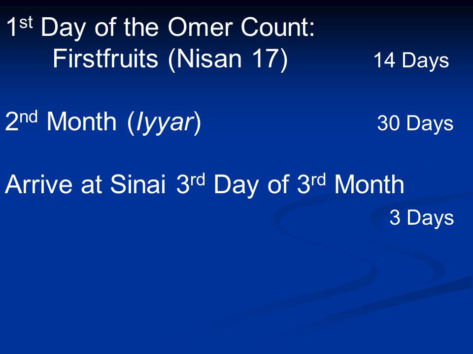 1 st Day of the Omer Count: Firstfruits (Nisan 17) 14 Days 2 nd Month (Iyyar) 30 Days Arrive at Sinai 3 rd Day of 3 rd Month 3 Days