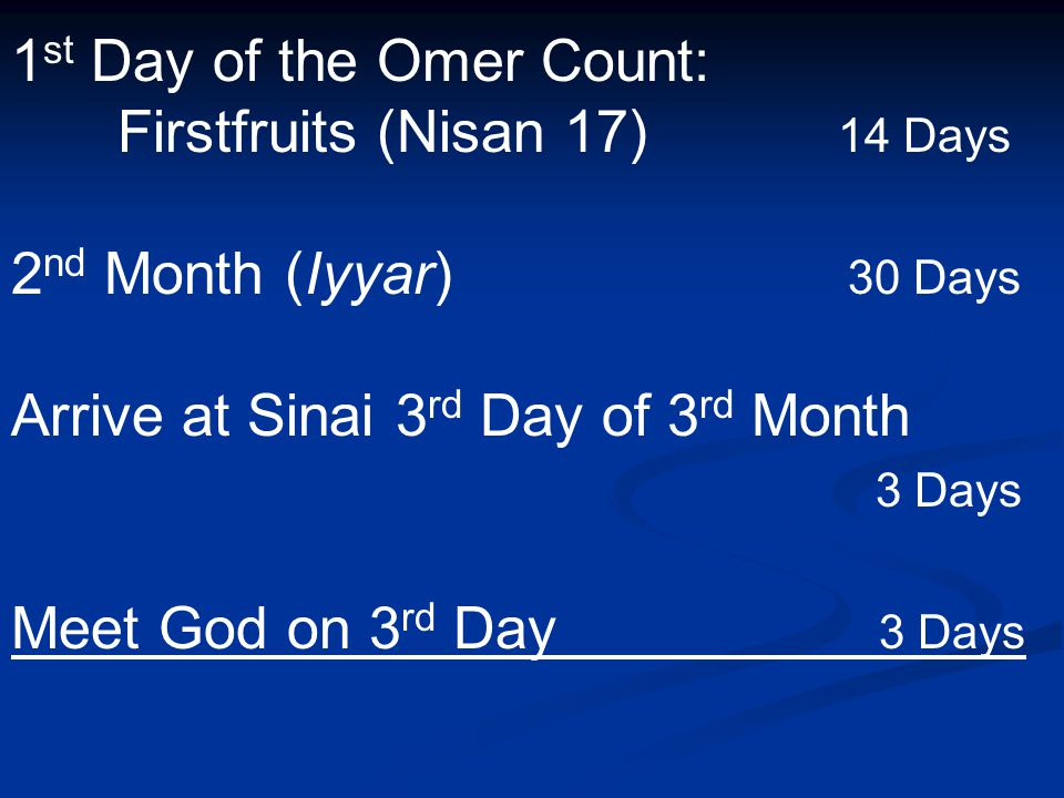 1 st Day of the Omer Count: Firstfruits (Nisan 17) 14 Days 2 nd Month (Iyyar) 30 Days Arrive at Sinai 3 rd Day of 3 rd Month 3 Days Meet God on 3 rd Day 3 Days
