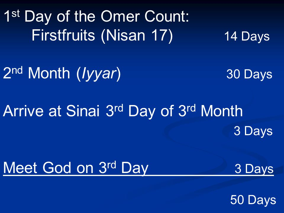 1 st Day of the Omer Count: Firstfruits (Nisan 17) 14 Days 2 nd Month (Iyyar) 30 Days Arrive at Sinai 3 rd Day of 3 rd Month 3 Days Meet God on 3 rd D