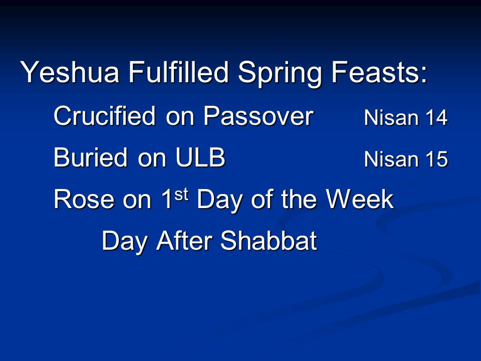 Yeshua Fulfilled Spring Feasts: Yeshua Fulfilled Spring Feasts: Crucified on Passover Nisan 14 Buried on ULB Nisan 15 Rose on 1 st Day of the Week Day After Shabbat