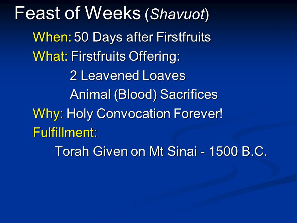Feast of Weeks (Shavuot) When: 50 Days after Firstfruits What: Firstfruits Offering: What: Firstfruits Offering: 2 Leavened Loaves 2 Leavened Loaves A