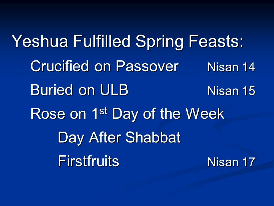 Yeshua Fulfilled Spring Feasts: Yeshua Fulfilled Spring Feasts: Crucified on Passover Nisan 14 Buried on ULB Nisan 15 Rose on 1 st Day of the Week Day