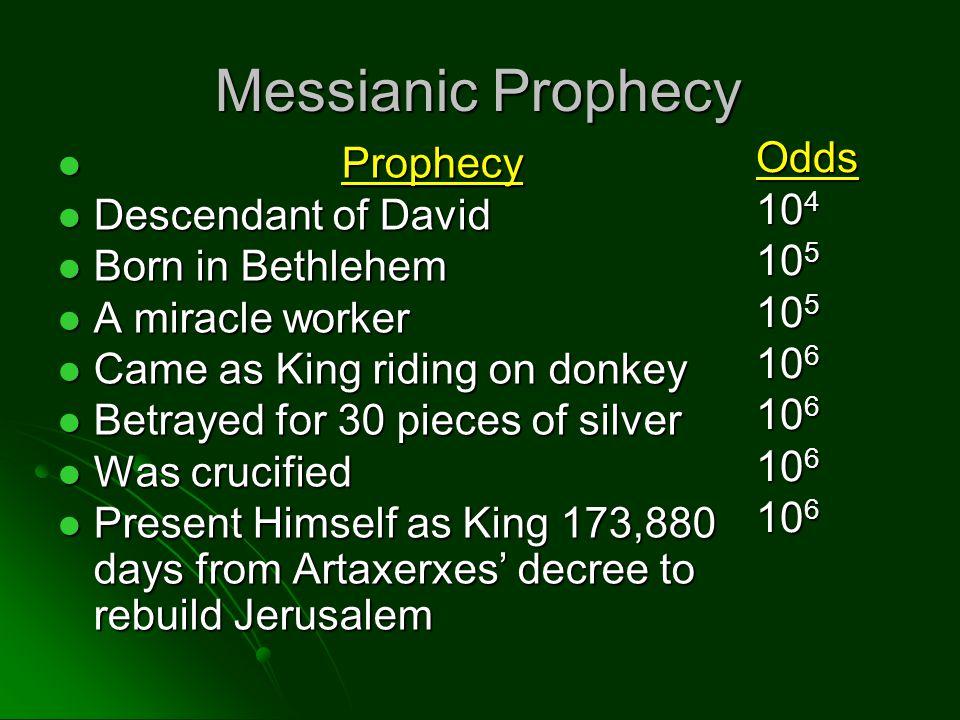 Messianic Prophecy Prophecy Prophecy Descendant of David Descendant of David Born in Bethlehem Born in Bethlehem A miracle worker A miracle worker Cam