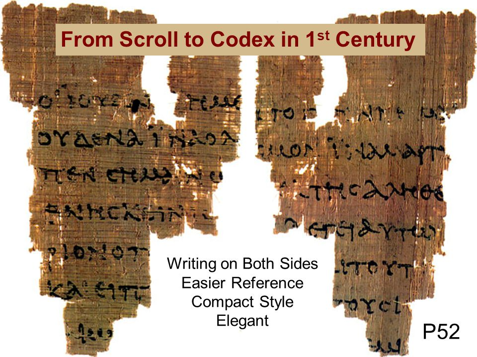 P52 From Scroll to Codex in 1 st Century Writing on Both Sides Easier Reference Compact Style Elegant