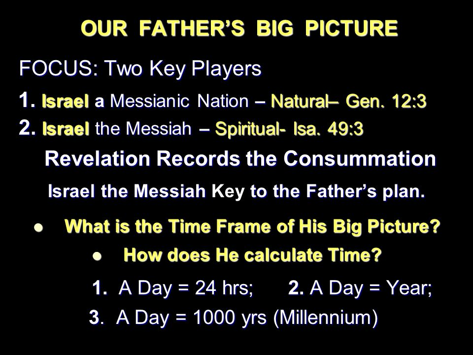 OUR FATHER'S BIG PICTURE FOCUS: Two Key Players FOCUS: Two Key Players 1.