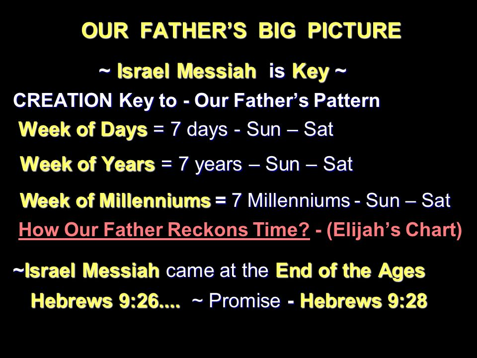 OUR FATHER'S BIG PICTURE ~ Israel Messiah is Key ~ ~ Israel Messiah is Key ~ CREATION Key to - Our Father's Pattern Week of Days = 7 days - Sun – Sat Week of Days = 7 days - Sun – Sat Week of Years = 7 years – Sun – Sat Week of Years = 7 years – Sun – Sat Week of Millenniums = 7 Millenniums - Sun – Sat Week of Millenniums = 7 Millenniums - Sun – Sat How Our Father Reckons Time.