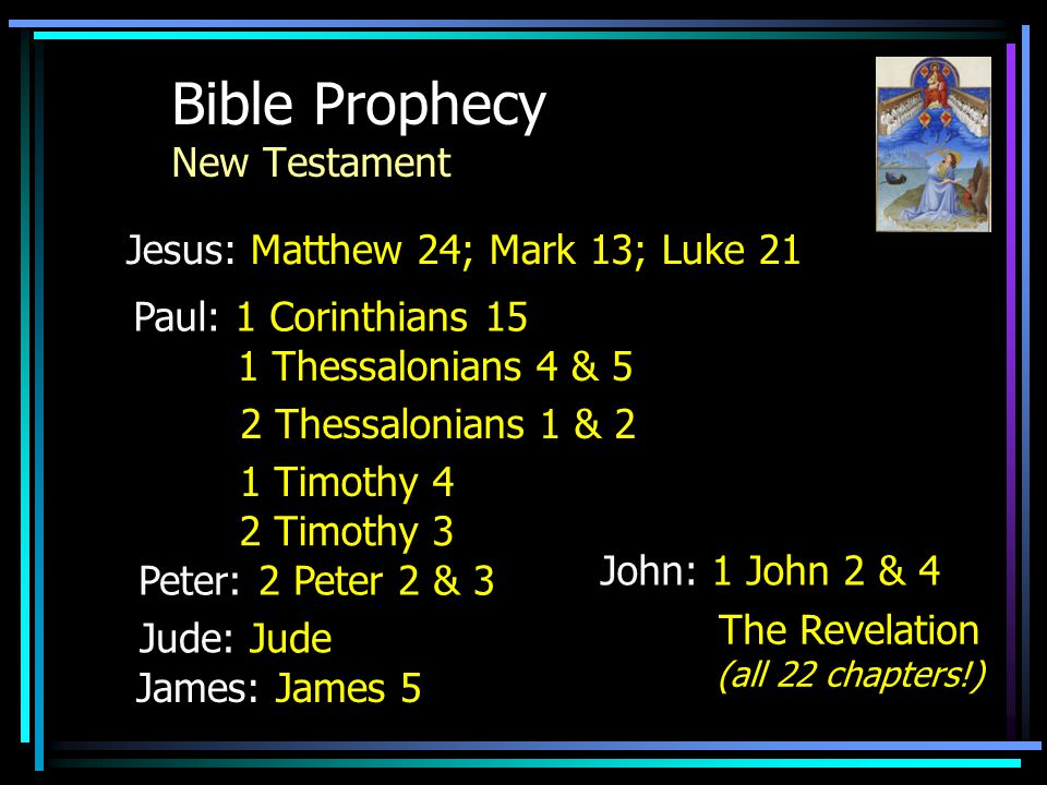 Bible Prophecy But take ye heed; behold I have foretold you all things. Mark 13:23