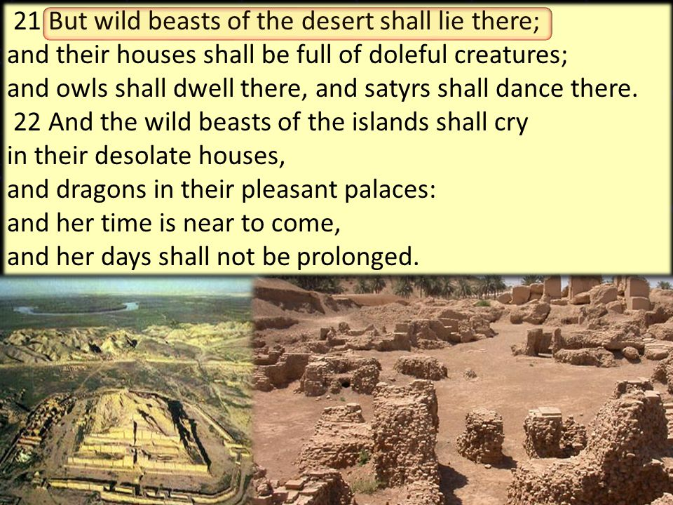 25 21 But wild beasts of the desert shall lie there; and their houses shall be full of doleful creatures; and owls shall dwell there, and satyrs shall
