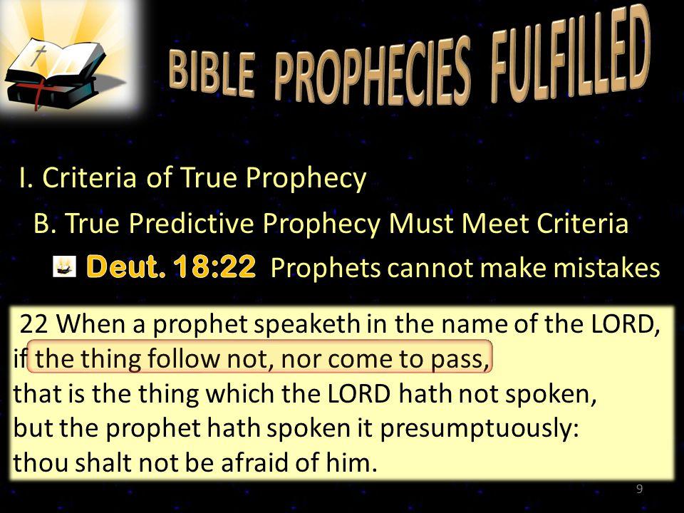 I.Criteria of True Prophecy C.