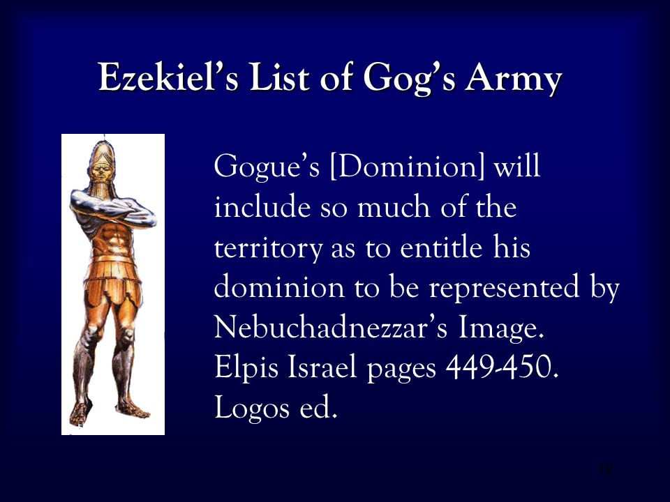 19 Ezekiel's List of Gog's Army Gogue's [Dominion] will include so much of the territory as to entitle his dominion to be represented by Nebuchadnezza