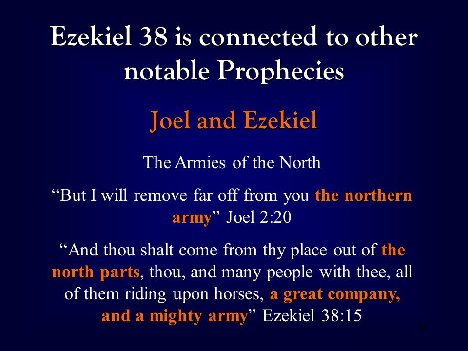 "55 Ezekiel 38 is connected to other notable Prophecies Joel and Ezekiel The Armies of the North the northern army ""But I will remove far off from you"