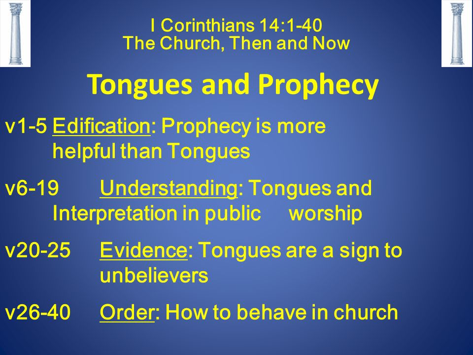 I Corinthians 14:1-40 The Church, Then and Now Tongues and Prophecy v1-5Edification: Prophecy is more helpful than Tongues v6-19 Understanding: Tongues and Interpretation in public worship v20-25Evidence: Tongues are a sign to unbelievers v26-40Order: How to behave in church