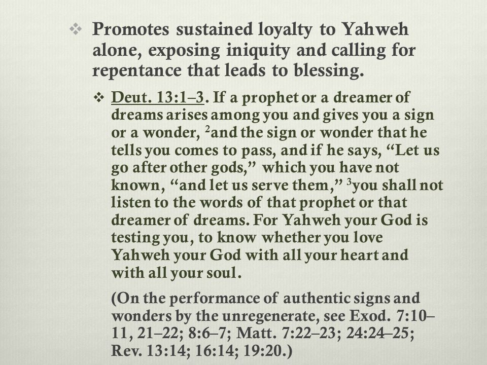  Promotes sustained loyalty to Yahweh alone, exposing iniquity and calling for repentance that leads to blessing.