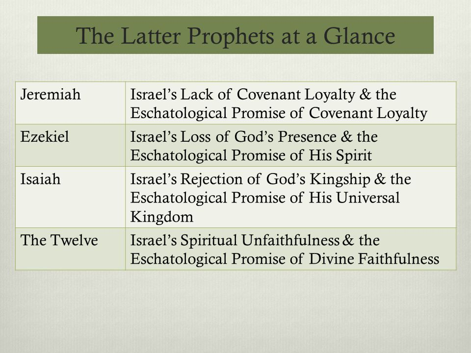 The Latter Prophets at a Glance JeremiahIsrael's Lack of Covenant Loyalty & the Eschatological Promise of Covenant Loyalty EzekielIsrael's Loss of God's Presence & the Eschatological Promise of His Spirit IsaiahIsrael's Rejection of God's Kingship & the Eschatological Promise of His Universal Kingdom The TwelveIsrael's Spiritual Unfaithfulness & the Eschatological Promise of Divine Faithfulness