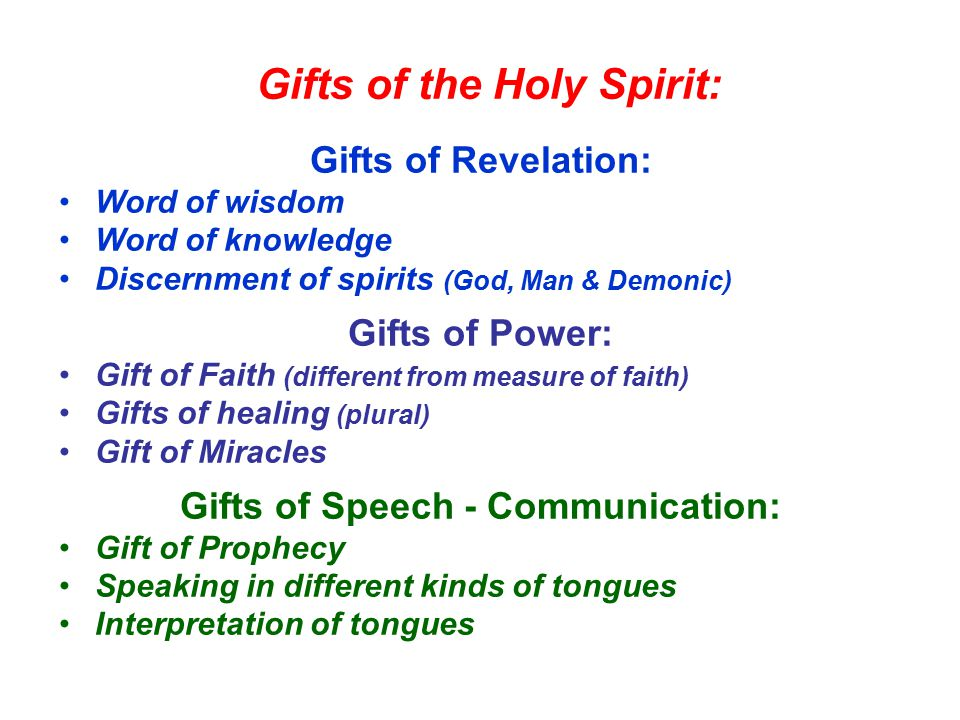 Gifts of the Holy Spirit: Gifts of Revelation: Word of wisdom Word of knowledge Discernment of spirits (God, Man & Demonic) Gifts of Power: Gift of Faith (different from measure of faith) Gifts of healing (plural) Gift of Miracles Gifts of Speech - Communication: Gift of Prophecy Speaking in different kinds of tongues Interpretation of tongues